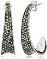 Sterling Silver Marcasite Pave Sculptured Contour Hoop Earrings