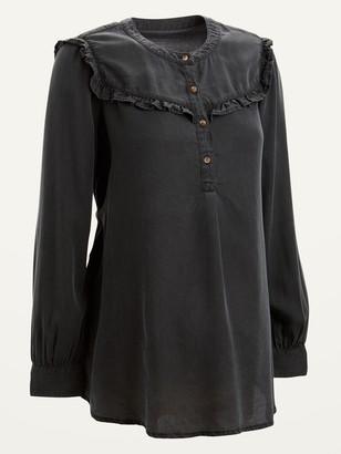 Old Navy Maternity Ruffle-Yoke Black Chambray Popover Shirt