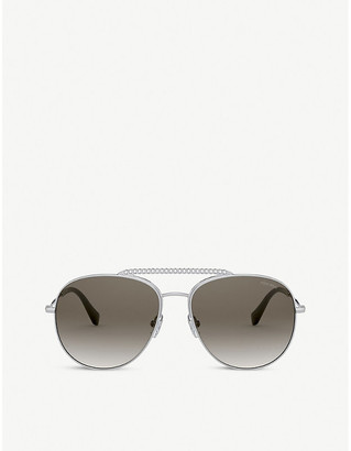 Miu Miu MU 53VS 57 aviator round-framed metal sunglasses