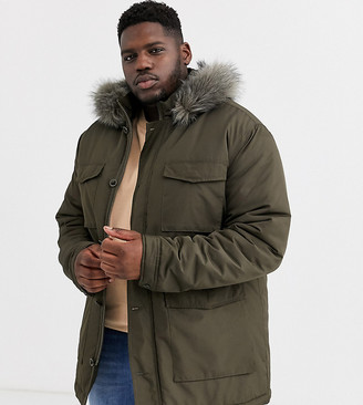 Asos Design DESIGN Plus hooded parka jacket with detachable faux fur trim in khaki-Green