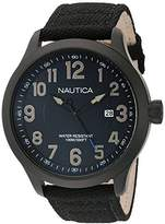 Nautica Men's 'NCC 01 DATE' Quartz Stainless Steel and Nylon Casual Watch, Color:Black (Model: NAD11515G)