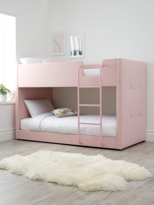 LubanaFabric Bunk Bed Frame with Mattress Options (Buy and SAVE!) - Pink