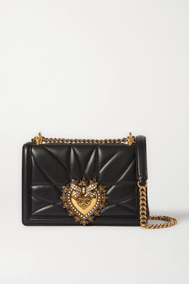 Dolce & Gabbana Devotion Mini Embellished Quilted Leather Shoulder Bag - Black
