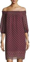 Max Studio Geometric-Print Off-the-Shoulder Smocked Dress, Wine
