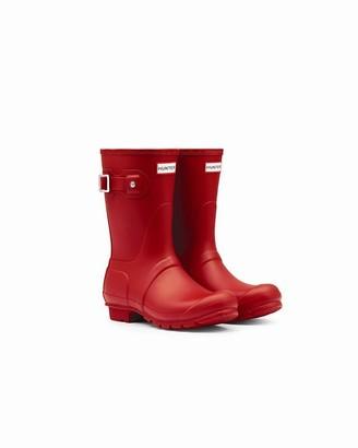 Hunter WOMEN'S SHORT RAIN BOOT RED - SIZE 9