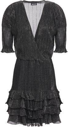 Just Cavalli Wrap-effect Ruffle-trimmed Plisse-lame Mini Dress