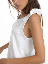 White + Warren Combed Cotton Shoulder Tie Top