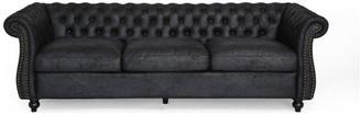 Gdfstudio Vita Chesterfield Tufted Faux Leather Sofa, Black