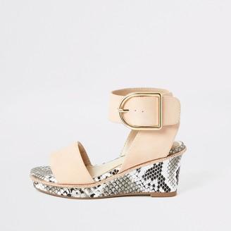 River Island Girls Pink snake printed wedge sandals
