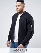 Asos Plus Muscle Fit Jersey Ma1 Bomber Jacket In Black