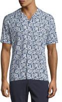 Neiman Marcus Short-Sleeve Printed Sport Shirt, Blue
