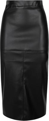 New Look NA-KD Leather-Look Midi Skirt