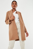 Missguided Camel Stand Collar Coat