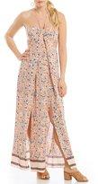 Chelsea & Violet Mixed-Print Cutout Halter Maxi Dress