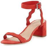 Loeffler Randall Emi Wavy Suede Ankle-Wrap Sandal