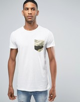 Pull&Bear T-Shirt With Camo Pocket In White
