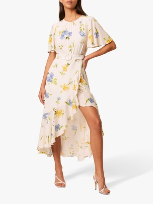 French Connection Emina Floral Print Draped Dress, Summer White/Multi