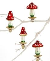 Holiday Lane Box of 4 Glass Mini Mushroom Ornaments, Created for Macy's
