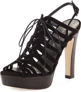 Stuart Weitzman Hitied Strappy Suede Sandal, Black