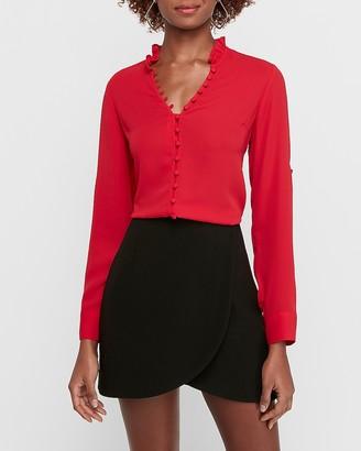 Express Slim Fit Ruffle Collar Portofino Shirt