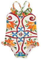 Dolce & Gabbana Maiolica Ruffle One-Piece Swimsuit, Size 12-24 Months