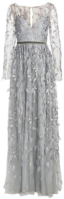Marchesa Metallic Leaf Sheer Sleeve Gown