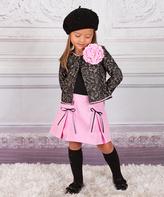 Taupe Lace Print Blazer & Pink Pleated Skirt - Girls