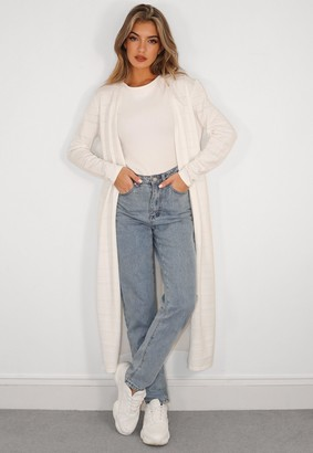 Missguided White Textured Knit Midaxi Cardigan