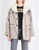 Marc Jacobs Ladies Taupe Shearling-Collar Cotton Corduroy Coat