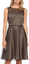 Tahari Petite Women's Chevron Burnout Organza Fit & Flare Dress