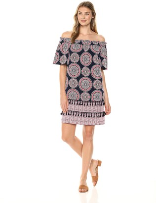 Maggy London Women's Printed Off The Dress with Novelty Detail