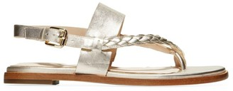 Cole Haan Anica Braided Metallic Leather Slingback Thong Sandals