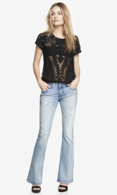 Express Low Rise Destroyed Slim Flare Jean