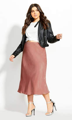 City Chic Bias Cut Skirt - apricot