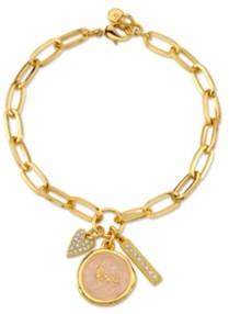 "Unwritten Gold Tone Fine Plated Silver ""Love"" Crystal Heart Charm Link Bracelet"