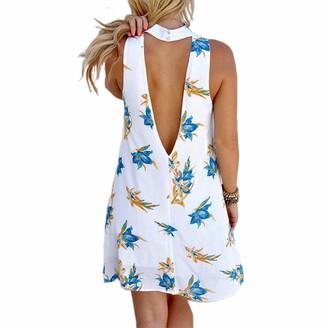 Loalirando Summer Dresses for Women Floral Printed Halter Neck Sleeveless Open Back Mini Beach Sundress (White XL)