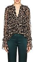Robert Rodriguez Women's Leopard Silk Chiffon Blouse - Neut. pat.