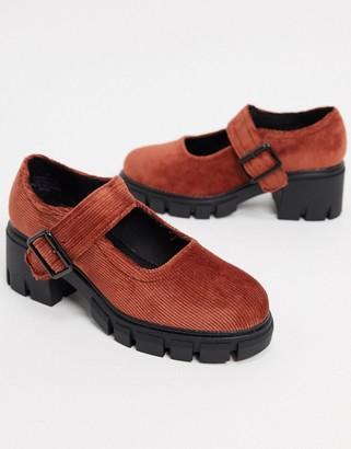 ASOS DESIGN Skittle chunky mary jane mid heels in rust