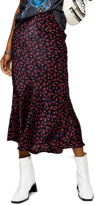 Topshop Floral Ditsy Flounce Midi Skirt