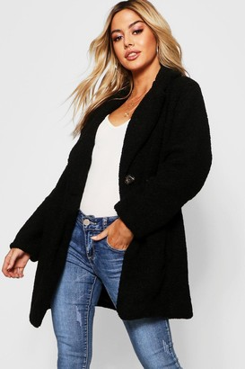 boohoo Petite Button Through Teddy Coat