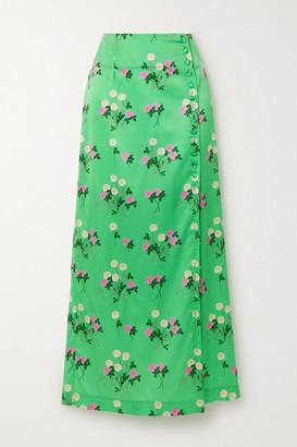 BERNADETTE Kelly Floral-print Silk-blend Satin Midi Skirt - Green