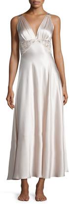 Christine Lingerie Bijoux Lace-Inset Silk Gown