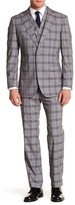 English Laundry Beige Glenplaid Two Button Peak Lapel Trim Fit Suit