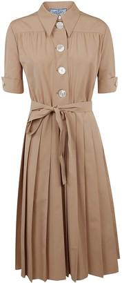 Prada Pleated Belted-waist Dress
