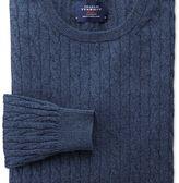 Charles Tyrwhitt Indigo cotton cashmere cable crew neck jumper