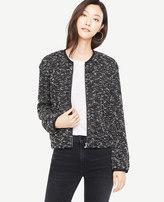 Ann Taylor Petite Knit Tweed Bomber Jacket