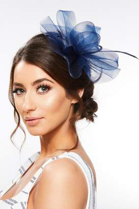 Quiz Navy Feather Loop Fascinator
