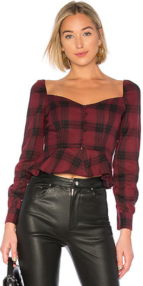 superdown Marrie Flannel Puff Sleeve Top