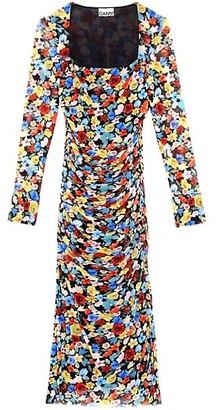 Ganni Floral Printed Mesh Midi Dress