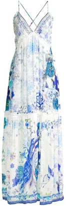 Camilla Silk Floral Tiered Cover-Up Dress